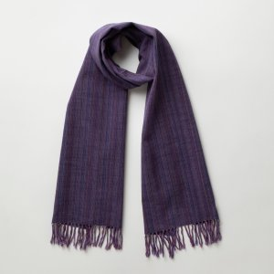 IIE Lab. Traditional stole 紫やたら縞 会津木綿 ストール 日本製 伝統工芸|iie