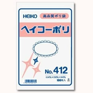 ポリ袋 HEIKO No.413 厚さ0.04mm サイズ260×380 [100枚入り]|iimono-ya
