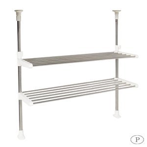 パール金属 ステージア 突っ張りキッチンパイプラック2段 HB-3741 つっぱり棒 水切り棚 整理|iimono-zakka