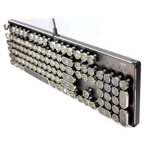 【送料無料】HKW タイプライター風メカニカルキーボード 青軸 104キー USB有線 日本語 (アンティーク風)
