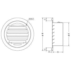 西邦工業【SC125S】内向ガラリ型外壁用ステンレス製換気口・フラットグリル|iisakura39|02