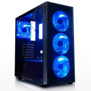 サイズ SIRIUS  (シリウス) ATX対応 PCケース 2面強化ガラス + ブルーLEDファン4基標準搭載|iiyama-pc