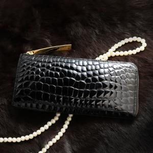 【池田工芸】日本最大のクロコダイル専門店が贈るCrocodile L wallet (クロコダイル L字ロングウォレット ダブルゴールドパイソン) 【6月10日頃 出荷】|ikedakohgei