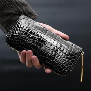【池田工芸】日本最大のワニ専門店が贈るCrocodile Smart Long Wallet クロコダイル スマートロングウォレットW 【6月10日頃出荷】|ikedakohgei