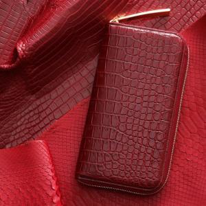 【池田工芸】赤を愛する人に贈る。タブーに打ち克つ、シルククロコダイル ホールカット「紅財布」【6月10日頃出荷】|ikedakohgei