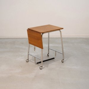 UD11084 キャスター付きワークテーブル(チーク) 北欧デンマークのビンテージ家具 ikeikakunet