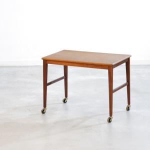UD11093 サイドテーブル(チーク・キャスター付き) 北欧ビンテージブランド家具 ikeikakunet