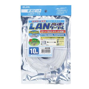 LAN-FT1100(W) CAT6フラットLANケーブル 10M ホワイト|ikelive