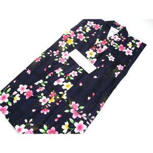 女の子 ゆかた 女児 子供浴衣 紺地に桜模様 110cm 157  紺地にピンクの桜のような花柄がと...
