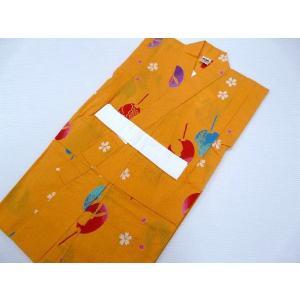 ご覧頂きありがとうございます。  女の子 浴衣 110cm 単品 子供浴衣 オレンジに内輪 166 ...
