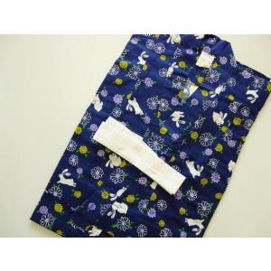 女の子 浴衣 子供浴衣 ゆかた 紺地 うさぎ 花柄 110cm 077  しなやかな手触りの綿素材で...