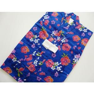女の子 浴衣 子供浴衣 ゆかた 紺地 花柄 110cm 083  しなやかな手触りの綿素材です。  ...