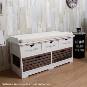 アンティーク ベンチチェスト 収納付 白  ホワイト 北欧 完成品 フレンチ カントリー風