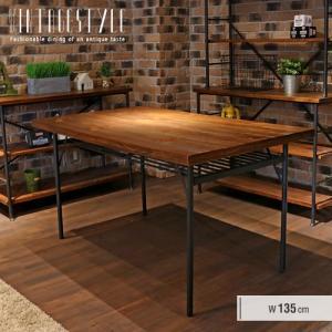 ダイニングテーブル 幅135cm 4人掛け アンティーク 北欧 アイアン カフェ風テーブル 単品の写真