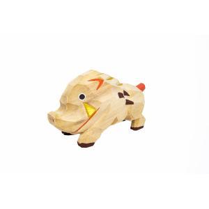 干支置物「亥」(いのしし)小サイズ/奈良一刀彫/楠/人形/猪/イノシシ/いのしし/亥