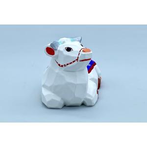 干支置物「丑」うし(白 花飾り青)小サイズ/奈良一刀彫/楠/人形/白/ウシ/うし/牛