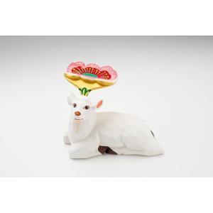 置き物「花鹿(白)花ピンク」大サイズ/一刀彫/奈良/置き物/木地/はなじか/ハナジカ/花鹿(白)花ピンク|ikkisya