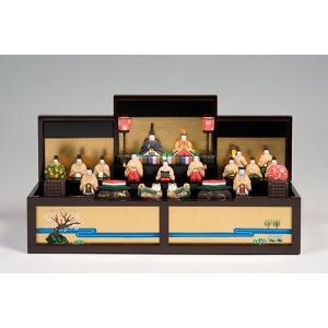 雛人形 「段飾雛 うるわし」 小サイズ 十五人飾り | 一刀彫り お雛様 手作り おしゃれ ひな人形 一刀彫 奈良|ikkisya
