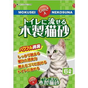 常陸化工 トイレに流せる木製猫砂 6L 1ケース6個セット|ikoapetfood