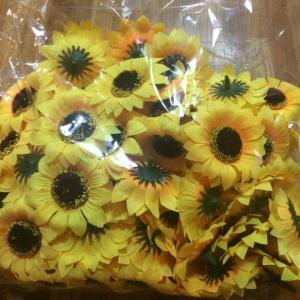 ★大人気★ 造花 ひまわり 花のみ 直径6〜7cm 100個セット