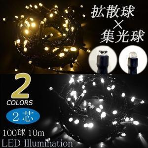 取り寄せ品 2芯 拡散 & 集光 ストリングライト ブラックコード ※パワーコード別売 100球 10m プロ 施工用 illumica-y