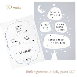 名入れ メモリアル 記念品 命名 出産祝い 10mois(ディモワ) 出生届&ベビーポスターセット 3060 ilovebaby