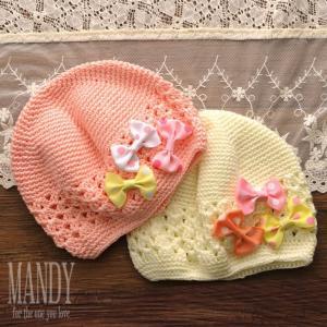 帽子 コットン 子供用帽子 キャップ ハンドメイド マンディ リボン クロシェット ハット|ilovebaby