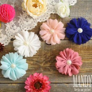 赤ちゃん クリップ すべらない ヘアアクセサリー 出産祝い MANDY (マンディ) ノンスリップクリップ  Creased Flower|ilovebaby