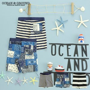 OCEAN&GROUND(オーシャンアンドグラウンド)  Boy's 水着 ボーダー&バンダナ|ilovebaby