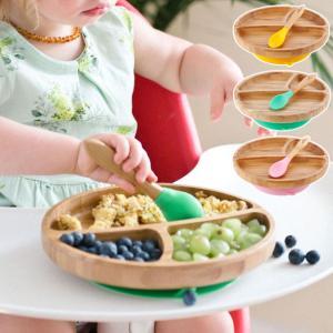 食器 ベビー こども プレート 吸盤 Avanchy アバンシー 竹のプレートワイド+スプーンセット