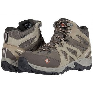 Merrell Work レディース 女性用 シューズ 靴 ブーツ 安全靴 ワークブーツ Siren Mid Waterproof Alloy Toe - Brindle/Boulder|ilovela