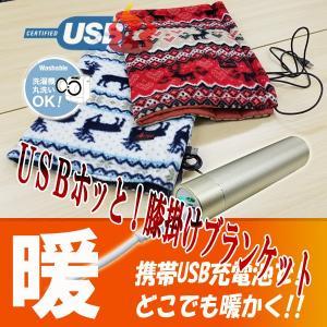HOTTEM USB対応あったか膝掛けブランケット(レッド)...