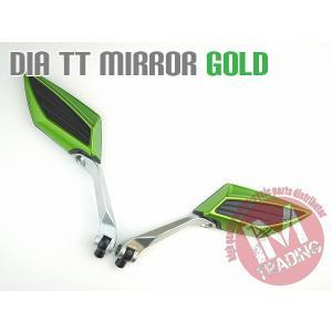 ダイヤTTミラー汎用  スポーツデザイン グリーン M10正逆ネジM8正逆ネジ付属|im-trading