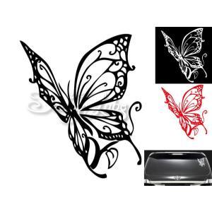 バタフライ type1 デザインカッティングステッカー カラーバリエーション有(黒・白・赤) Butterfly 蝶 大型 im-trading