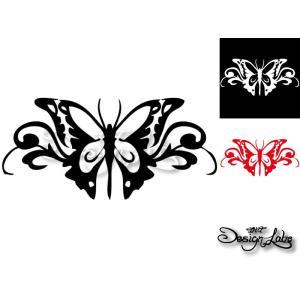バタフライ type2 デザインカッティングステッカー カラーバリエーション有(黒・白・赤) Butterfly 蝶 大型 im-trading