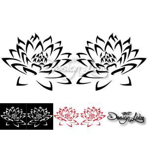 ロータス(蓮柄) type1 デザインカッティングステッカー 左右セット カラーバリエーション有(黒・白・赤) Lotus 大型 im-trading