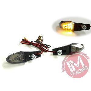 LEDライトアングルウインカー スモークレンズ仕様 左右セット 汎用品ビューエル トライアンフ ドゥカティ KTM アプリリア等に|im-trading