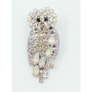 (イマック) imac バッジ ラインストーン ホワイト ふくろう 133364 imac-jewelry