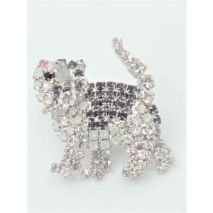 (イマック) imac バッジ ラインストーン ブラック ホワイト 猫 140358 imac-jewelry