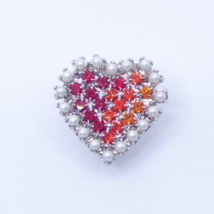 (イマック) imac バッジ ラインストーン パール ハート レッド 149000 imac-jewelry