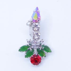 (イマック) imac バッジ ラインストーン キャンドル クリアカラー レッド グリーン 149003 imac-jewelry