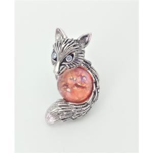 (イマック) imac バッジ ボヘミアングラス ピンクベージュ きつね 150742 imac-jewelry