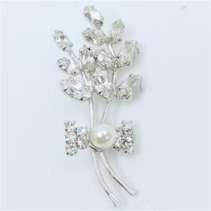 (イマック) imac ブローチ ラインストーン ボタニカル パール クリア 143171|imac-jewelry