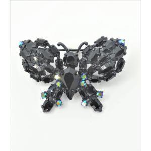 (イマック) imac ブローチ ラインストーン ブラック 蝶々 127363|imac-jewelry