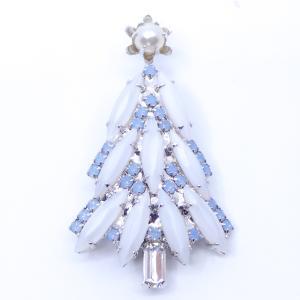 (イマック) imac ブローチ ラインストーン パール クリスマスツリー ホワイト ブルー 139257|imac-jewelry