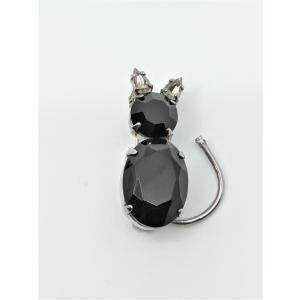 (イマック) imac ブローチ ラインストーン ブラック 猫 149002|imac-jewelry
