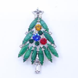 (イマック) imac ブローチ ラインストーン クリスマスツリー グリーン レッド ブルー イエロー 149073|imac-jewelry
