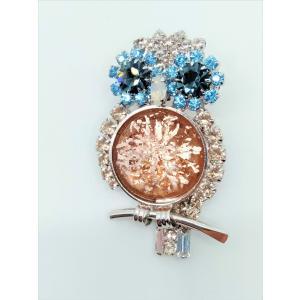 (イマック) imac ブローチ ラインストーン ピンクベージュ ふくろう 2WAY 149883|imac-jewelry