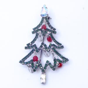 (イマック) imac ブローチ ラインストーン クリスマスツリー グリーン レッド 150678|imac-jewelry