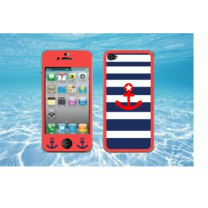 iPhone 4  4S iPhone 5 iPhone 5S  対応保護シール アイフォン用 流行のマリン ボーダー デザイン イカリマーク付!!|imagine-style